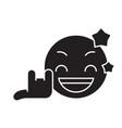 rock star emoji black concept icon rock vector image
