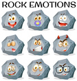 Rock with different facial expressions vector image