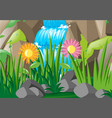 scene with waterfall and flowers vector image