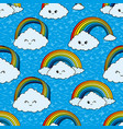seamless pattern with clouds and a rainbow vector image