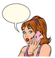 serious woman talking on phone isolate on vector image vector image