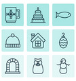 set of 9 new year icons includes present pouch vector image vector image