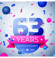 Sixty three years anniversary celebration on grey vector image vector image