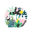 summer print with text jungle and tropical leaves vector image