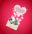 valentine greeting letter hearts vector image vector image