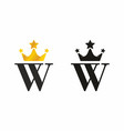 w initial letter with crown logo vector image vector image
