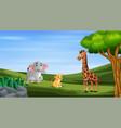 wild animals enjoying at green field vector image vector image