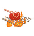 cooking beef on barbecue icon cartoon style vector image