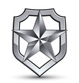 3d heraldic template with pentagonal silver star vector image vector image