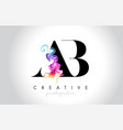ab vibrant creative leter logo design with vector image