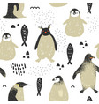 baby shower seamless pattern with cute penguins vector image