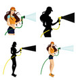 beautiful girl with a water hose vector image