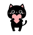 black cat kitten kitty standing and holding big vector image vector image