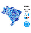 blue triangle brazil map vector image