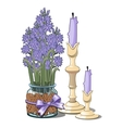 Bouquet of lilac in glass vase and two candles vector image vector image