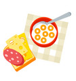 breakfast tasty cereal flakes with vector image