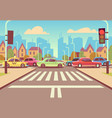 cartoon city crossroads with cars in traffic jam vector image