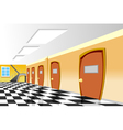 cartoon interior corridor curve School vector image vector image