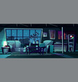 cartoon living room at night interior vector image vector image