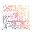 city life - line design composition - color vector image vector image