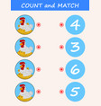 count and match hen cartoon vector image vector image