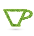 Cup silhouette of green leaves vector image vector image