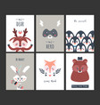 cute animal posters funny woodland creatures vector image vector image