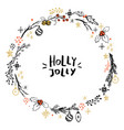 cute christmas wreath with hand drawn elements vector image