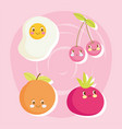 cute food pattern design fried egg cherry tomato vector image vector image