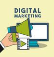 digital marketing hand holding megaphone computer vector image