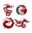 dragon emblem logo design mascot template set vector image