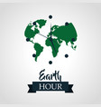 earth hour green planet clock vector image vector image