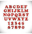 english alphabet and numerals from red balloons vector image vector image