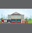 fire station building with emergency vehicle fire vector image