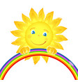 fun sun and rainbow vector image vector image