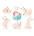 funny cartoon cute easter bunny set vector image vector image