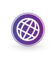 globe world icon in purple circle minimalistic vector image vector image