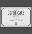 gray certificate retro vintage template vector image vector image
