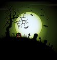halloween night green background with pumpkins vector image