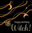 happy birthday witch greeting card design with vector image vector image