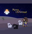 holiday of merry christmas nativity scene vector image