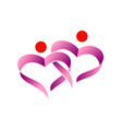 love heart couple ribbon logo vector image