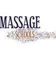 massage schools text background word cloud concept vector image vector image