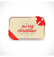 Merry Christmas greeting card with bow and ribon vector image vector image