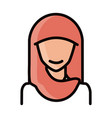 muslim woman with hijab character line and fill vector image vector image