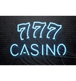 neon casino isolated on black brick wall vector image vector image