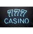 neon casino isolated on black brick wall vector image