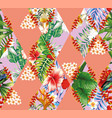 patchwork tropical flowers and leaves vector image vector image