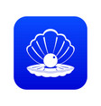 pearl in a sea shell icon digital blue vector image