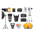 photography equipment flat vector image